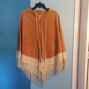 Authentic vintage leather poncho